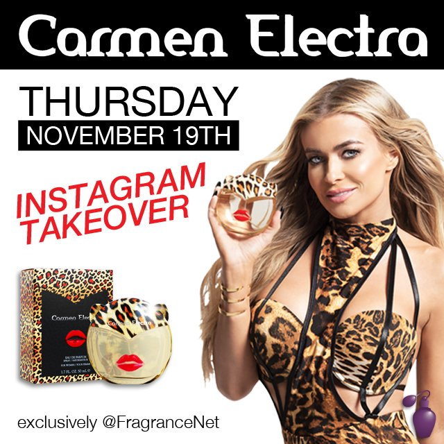 RT @FragranceNet: We can't wait for the @CarmenElectra Instagram takeover tomorrow! ????  https://t.co/cC0b5LplK2 #ElectraPerfume https://t.co…