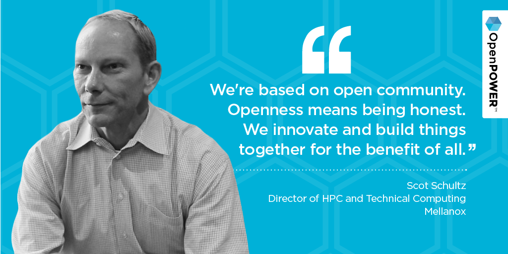 #OpenPOWER's very own Scot Schultz on the power of openness in innovation. #HPC #HPCMatters #SC15 https://t.co/itsy5FfNBA