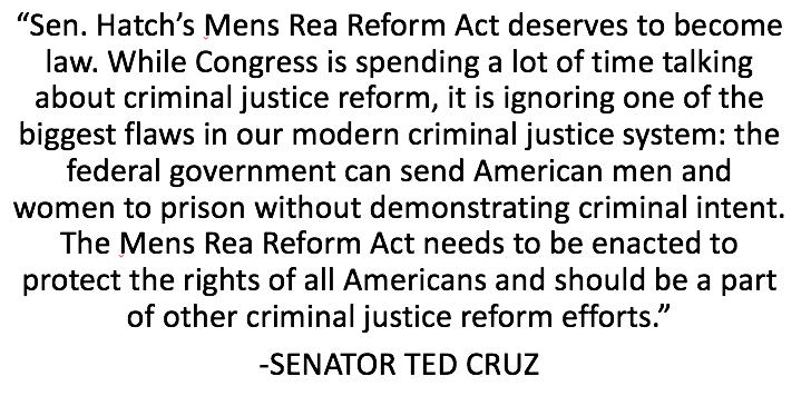 """Senator Hatch's Mens Rea Reform Act deserves to become law."" - @SenTedCruz https://t.co/flMV60nbXs https://t.co/BiLXY5KZDa"