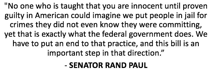 Senator @RandPaul on the bill he has co-sponsored with Senator Hatch to strengthen #mensrea protections - https://t.co/RznCJ7XwYU