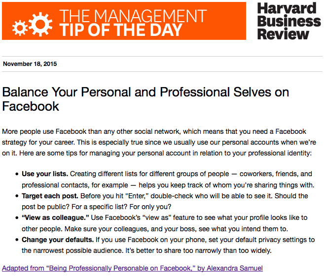 Today's management tip: Manage both the personal and professional on social media https://t.co/Fyu8J3o4AK