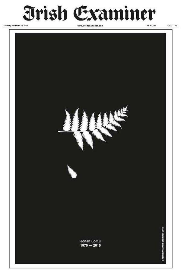 Front page of the Irish Examiner. Yes, the Irish Examiner. Well done. #JonahLomu https://t.co/vsshFJdWWu