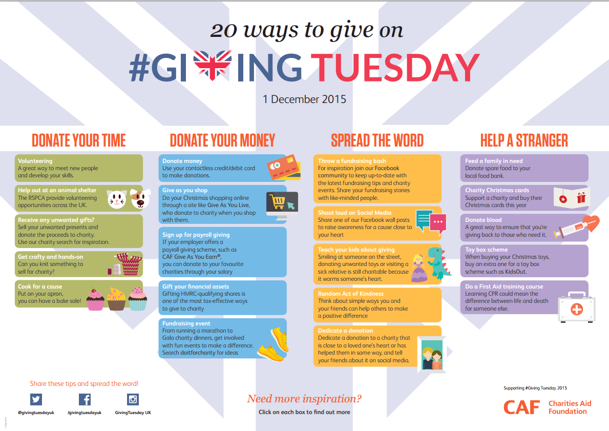 #GivingTuesday is less than two weeks away!   Here's 20 ways to get involved: https://t.co/0S6228RQOg https://t.co/Mu5IrQhmcZ