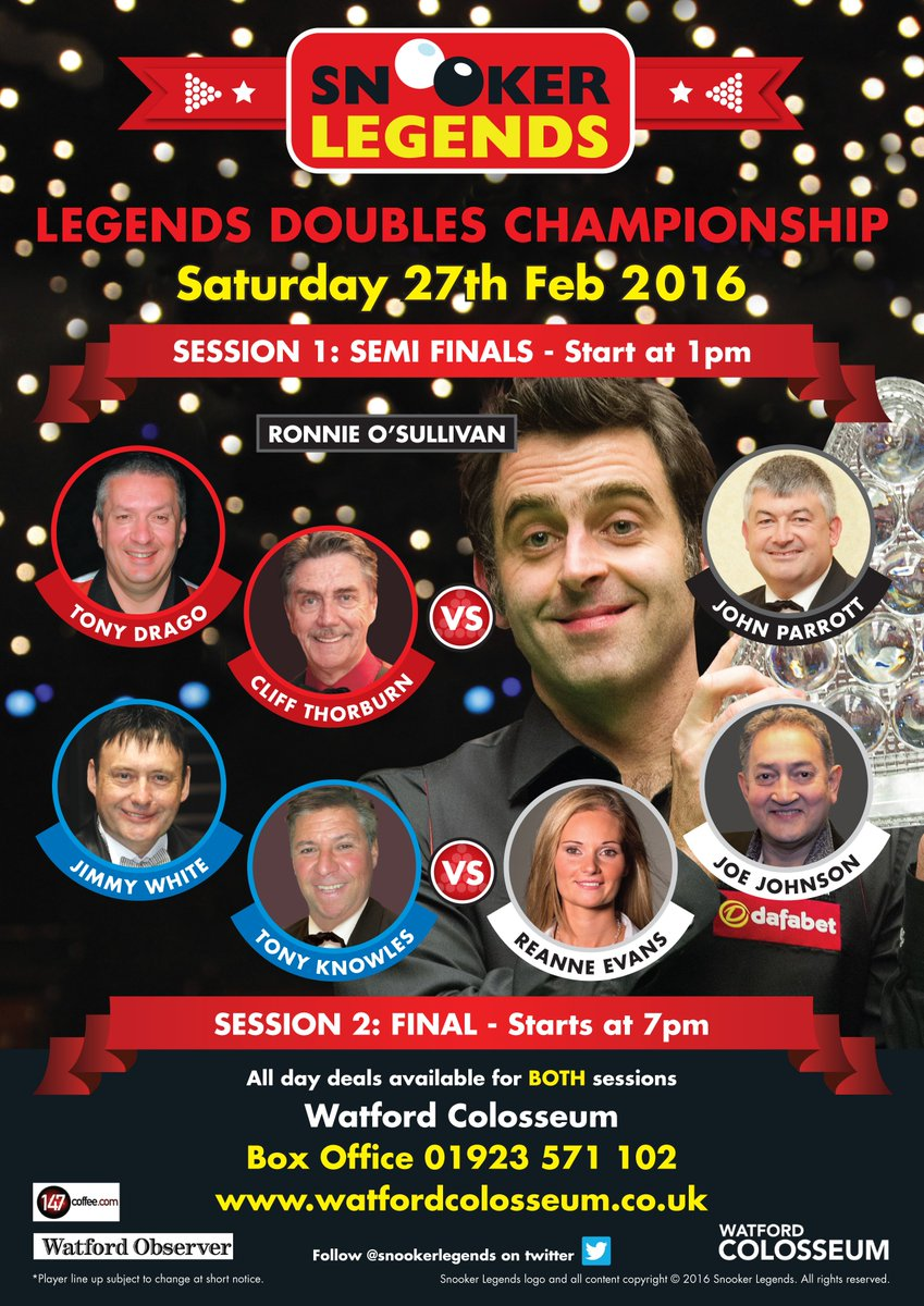 Line Ups complete and on sale now! doubles @evans_reanne @ronnieo147 @JoeJohnson86 @jimmywhite147 @MichaelaTabb https://t.co/HM6GpsZKWR