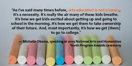 Here's @FLOTUS on arts ed. Rd her full remarks from the 2015 #NAHYP awards ceremony here https://t.co/xRQ2TRA9eD https://t.co/RE3H76GzaI