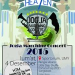 #jogja @kbmby 4/12/15 18.00 Concert Marching Band kampus Jogja UGM, UPN, UII, UMY, ISI, UAJY di Sporto UMY https://t.co/8JySlgVtss