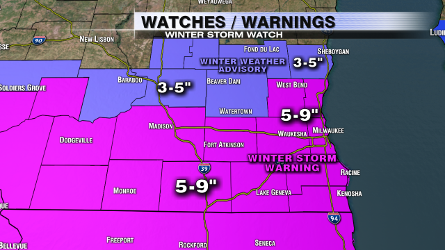 Winter Storm Warning and Winter Weather Advisory issued for SE WI. #wiwx https://t.co/XZG43G05mB https://t.co/lHUtNT1M9J