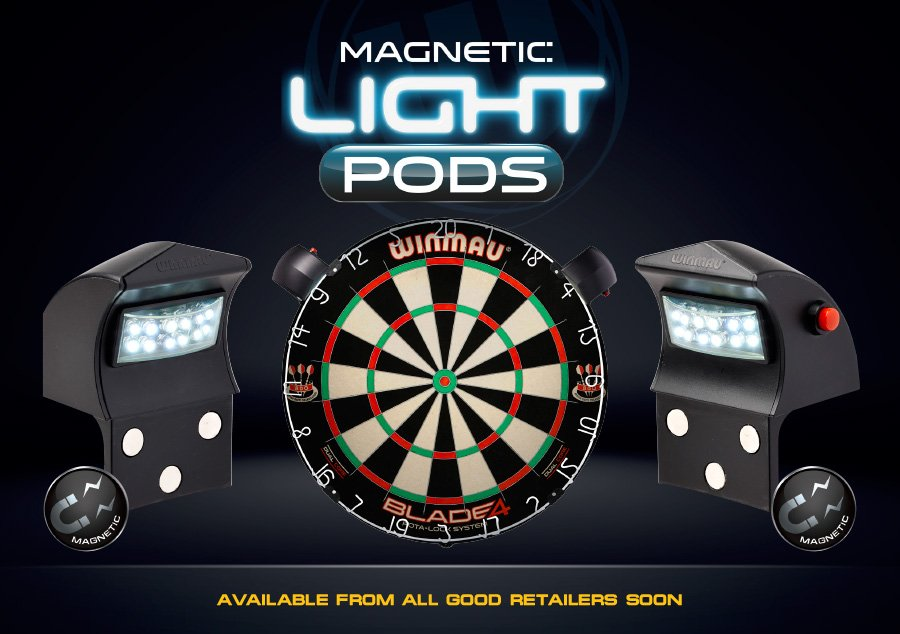 NEW Magnetic Light Pods, attaches to the outside metal band of the dartboard #WinmauLaunch https://t.co/Nrv6wwlSle