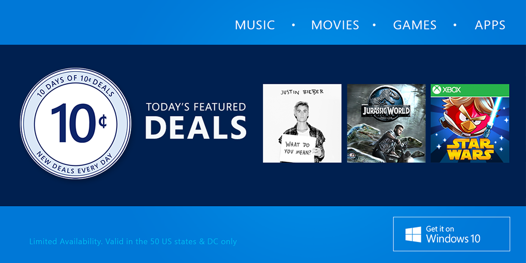 10 Days of 10₵ deals in the @WindowsStore starts today. https://t.co/DrVCZHRI7r https://t.co/4PFjmgMMov
