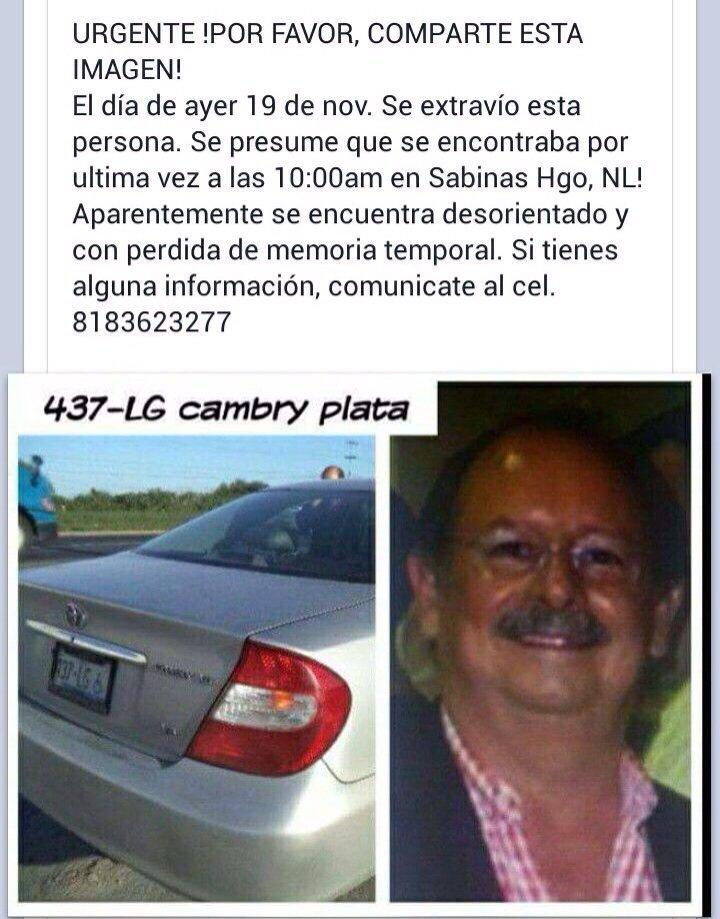 Solicitamos su ayuda para localizar a Sergio Arturo González Salinas. 61 años. MTY #mtyfollow https://t.co/jtJ9srRu4z