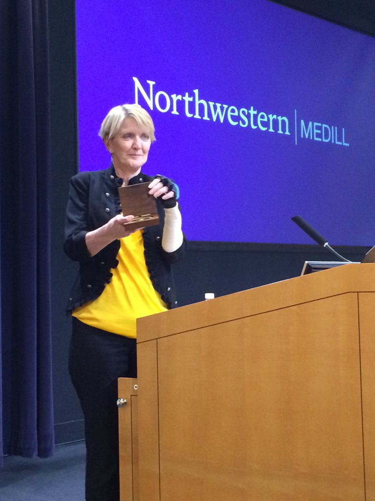 "Courageous journalist @Kathygannon receives her #medillmedal award. ""[Jim's] legacy lives on."" @JamesFoleyFund https://t.co/cD8GnS4yas"