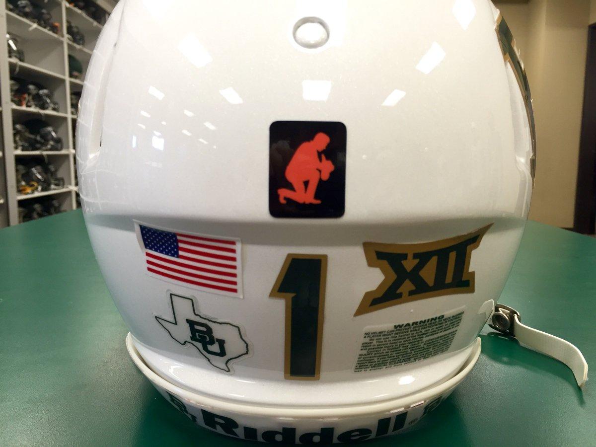 """In support of Stillwater, @BUFootball to wear """"Kneeling Cowboy"""" logo on helmets vs. OSU. #StillwaterStrong https://t.co/Aq7dYW8fao"""