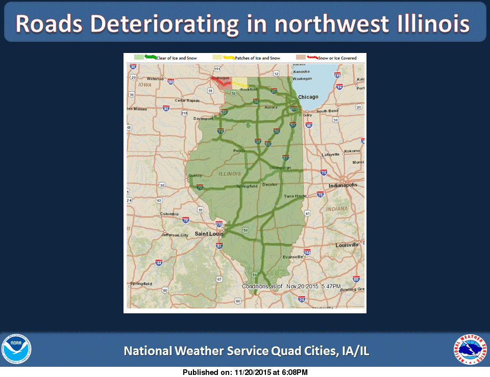 road conditions rapidly deteriorating in northwest illinois road