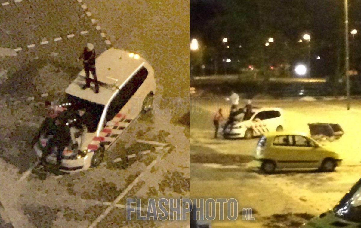 """14-jarige jongens """"dansen"""" op politieauto tijdens reanimatieinzet hulpdiensten Londenweg Vlaardingen: https://t.co/agvW2dr0VO"""