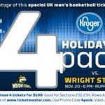 RT @UKAthletics: Plans tonight?  Why not check out @KentuckyMBB at 8 with our @kroger Holiday 4 pack? https://t.co/4bARsM82qW