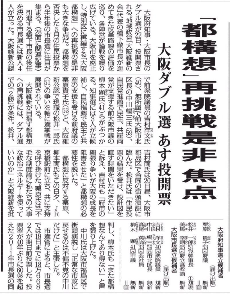 住民投票から7ヶ月しか経っていない選挙の争点が「都構想」再挑戦なんて常識的に考えてありえないでしょ。相変わらず大阪のマスコミは維新の洗脳から覚めていない。判断力をなくしてる。選挙前日の朝刊の一面でこれをやるか?(毎日新聞朝刊) https://t.co/dqUXCFt7E2