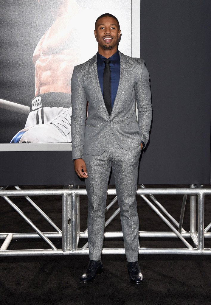 Michael b. jordan wore a silver @calvinklein suit and deep blue ...
