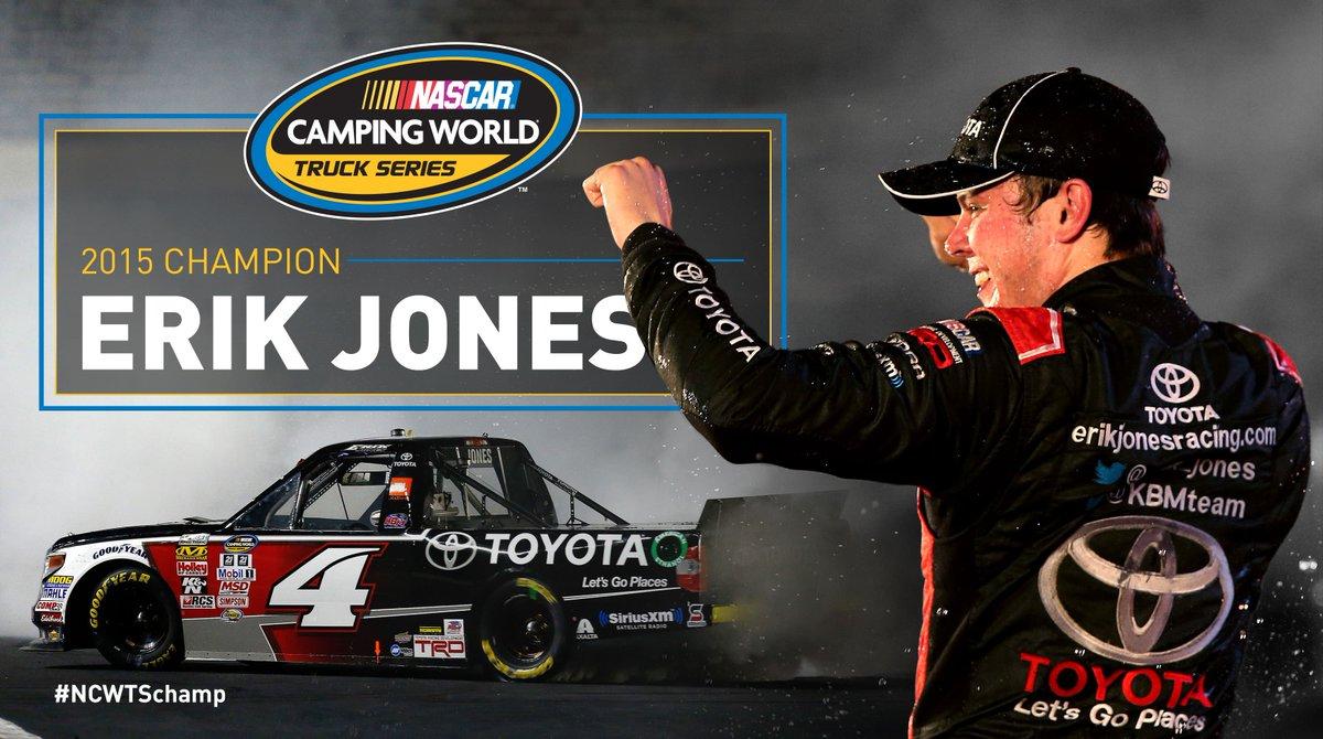Retweet to congratulate your 2015 NASCAR Camping World Truck Series Champion, @erik_jones!  #NCWTSchamp https://t.co/1fVnEm9vnv