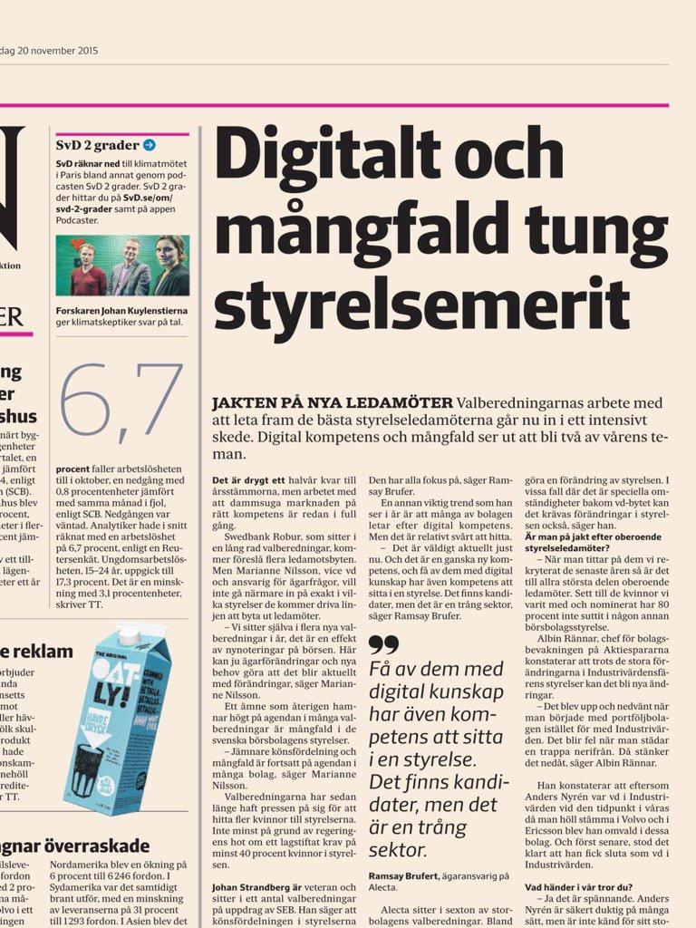 Digital kompetens det nya svarta i styrelsen, kul läsning! @SvDNaringsliv #styrelsearbete #digitaltransformation https://t.co/Rq9yIsDXTO
