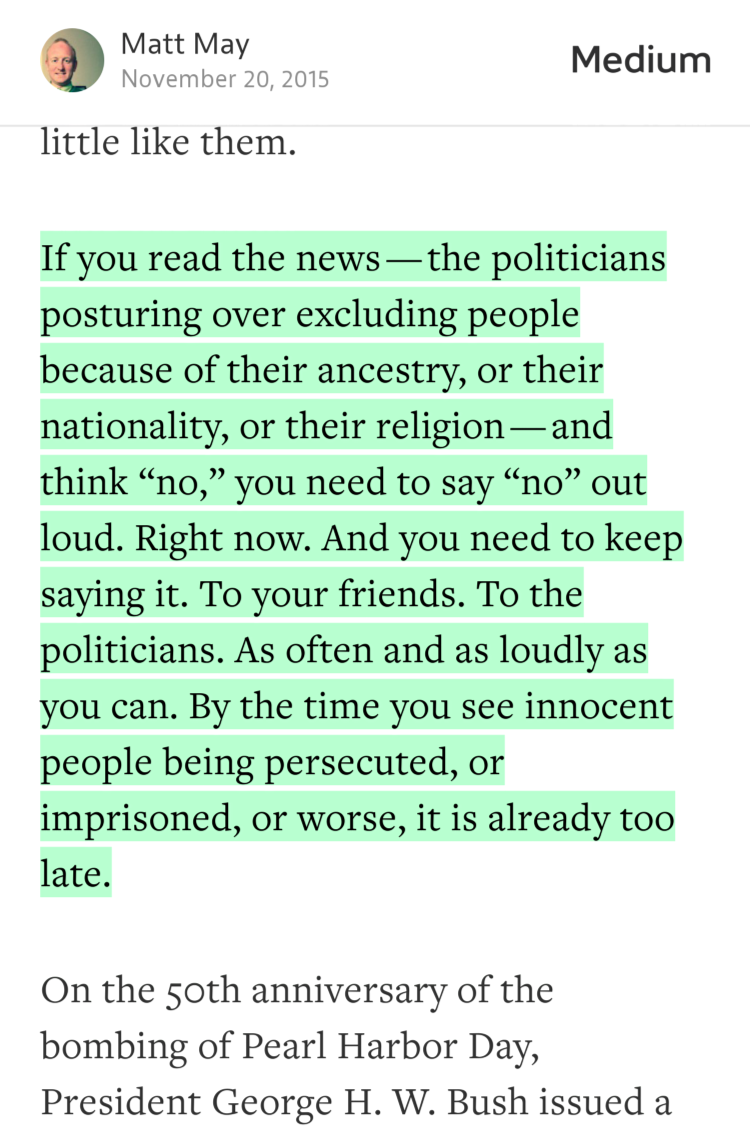 """If you read the news — the politicians posturing over excluding people because…"" — @mattmay https://t.co/SZ0BZYJbxU https://t.co/lnDnAYrUqQ"