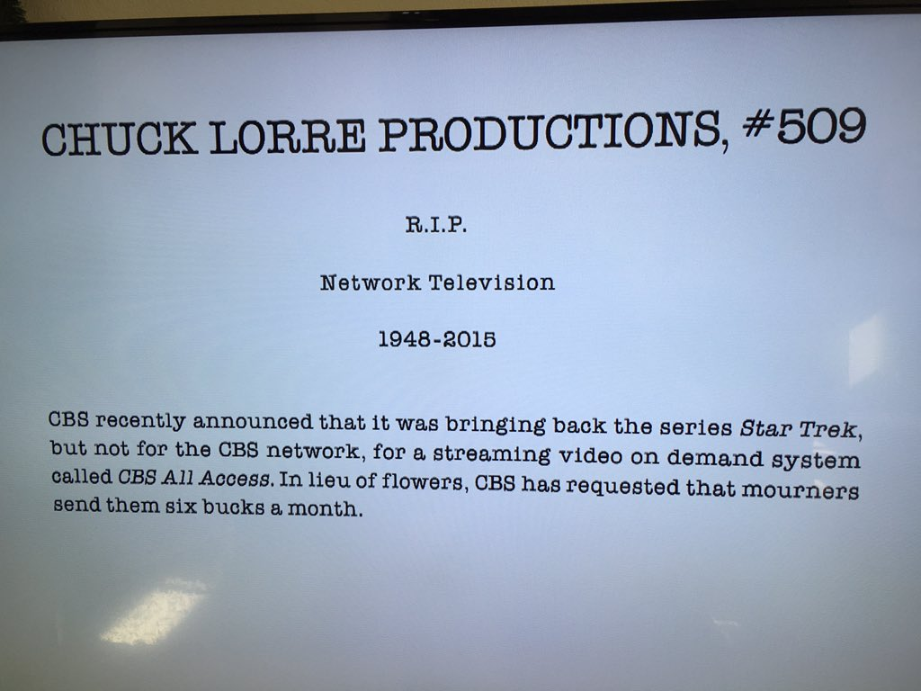 On-air, after the end-credits for this week's #TheBigBangTheory.  Its pretty bold, especially since it was on CBS. https://t.co/9aimsLMODD