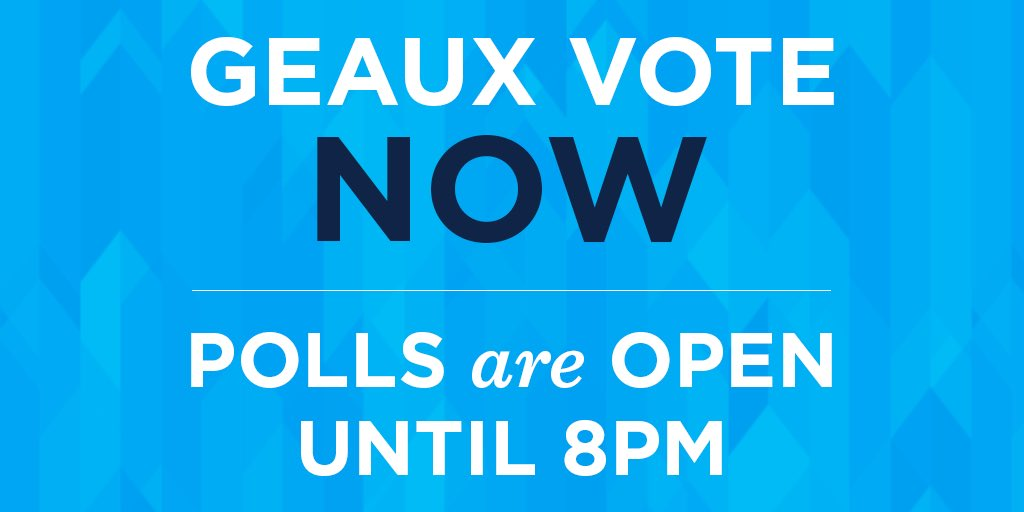 Two and a half hours left to vote, y'all! #GeauxVote if you haven't already! #lagov https://t.co/jxZWFSR6VB
