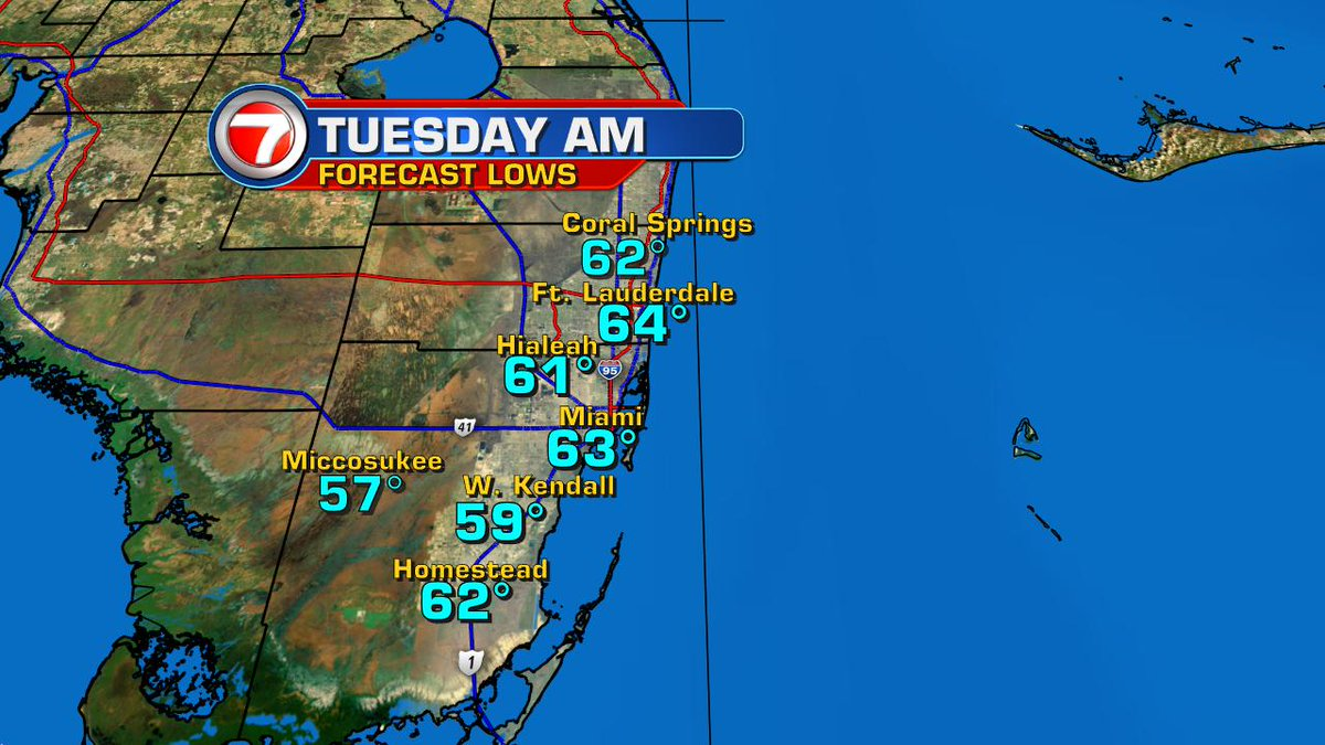 COOLING coming for early week #SoFla.  Here's a Preview of forecast lows on Tue AM! https://t.co/MBbN7UvafC