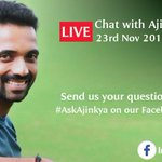 RT @BCCI: .@ajinkyarahane88 will go LIVE on our Facebook page -- IndianCricketTeam. Send your questions with #AskAjinkya https://t.co/aVb8i…