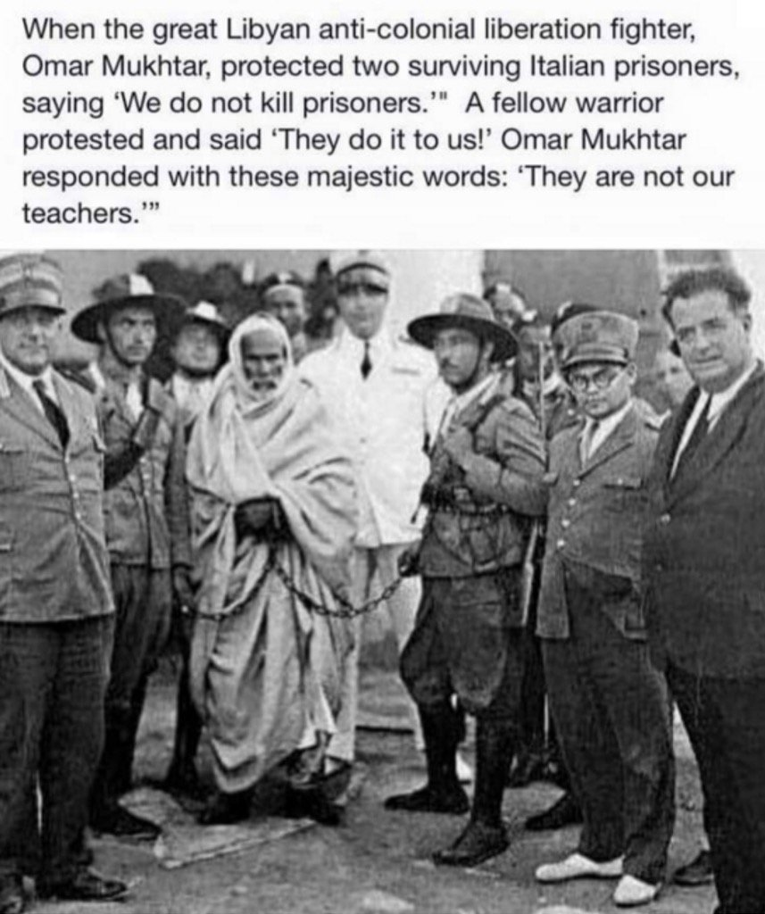 "Omar Al Mukhtar: ""They are not our teachers."" Photo and quote via Bilal A Kareem https://t.co/ZJPBdWvFCY"