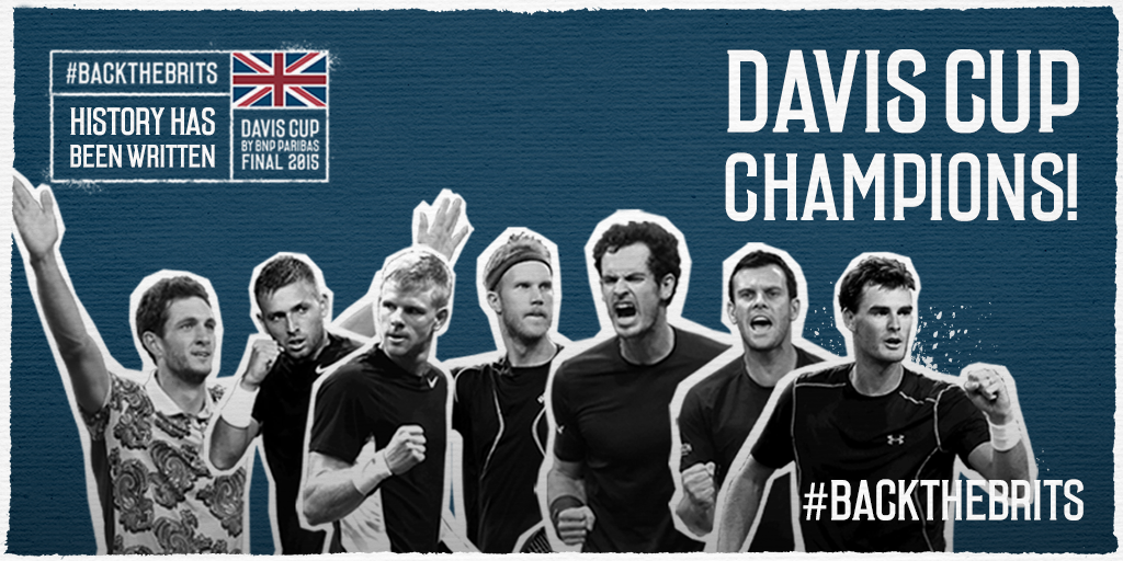 We've done it! Aegon GB @DavisCup Team are 2015 Davis Cup Champions! #BackTheBrits #HistoryMakers https://t.co/VSa6CPdxb4
