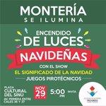Te esperamos hoy en la Plaza Cultural del Sinú para encender la Dulce Navidad de cara al río Sinú @CarlosECorreaE https://t.co/E5WCSDFQEy