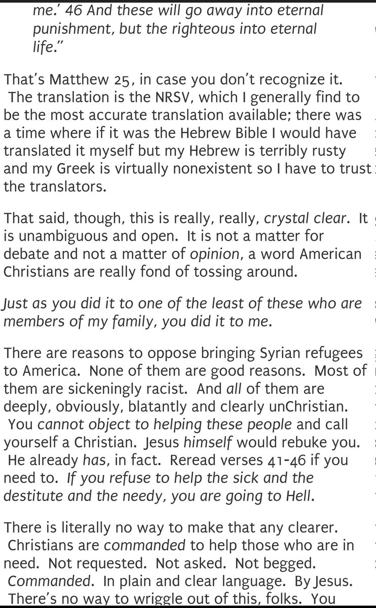 Beautiful, blistering indictment of self-proclaimed Christians who oppose helping refugees. https://t.co/lxjsTXrXyF https://t.co/Do3jHMSagz