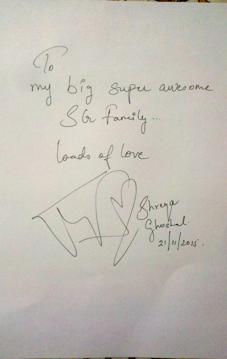 Wait, there's more for you all! An autograph for #SGFamily which @shreyaghoshal signed yesterday :) https://t.co/vzDMFEZj3g