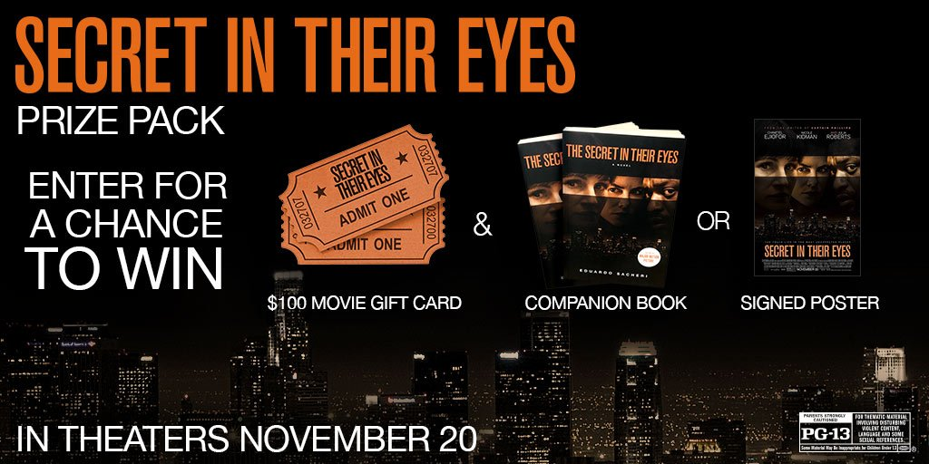 Any Julia Roberts fan? RT to win a $100 gc to see #SecretInTheirEyes #SecretMovieSweeps https://t.co/w9euFPh1Hv AD https://t.co/xnpN6Nzaag