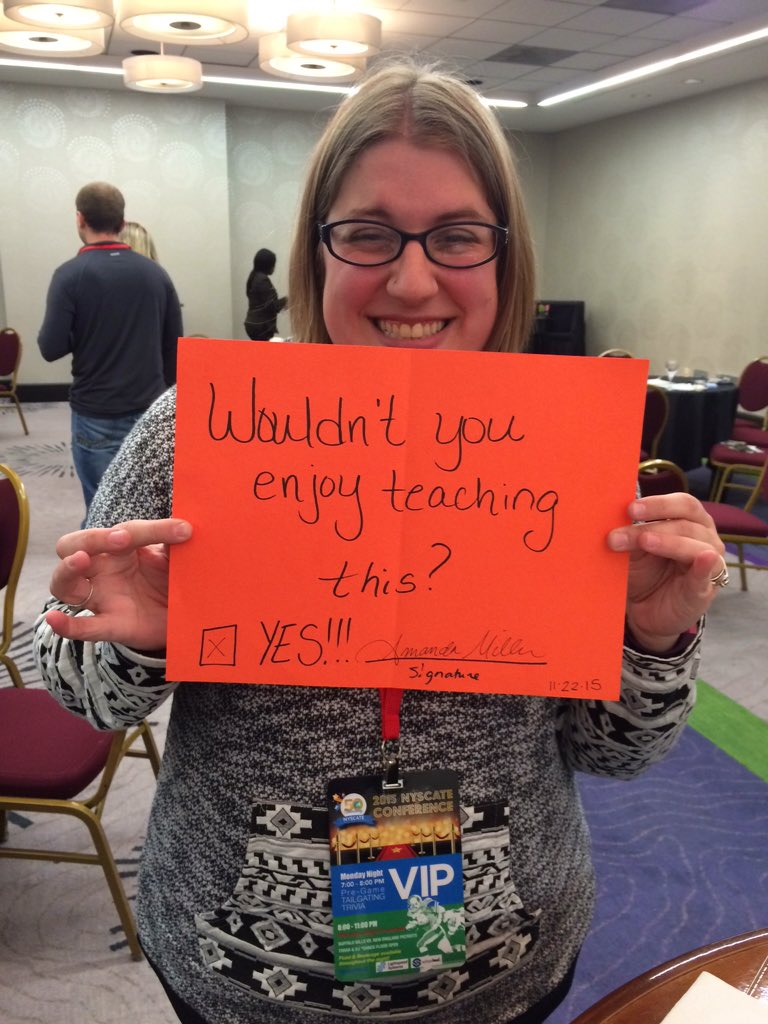 Amanda at Franklinville is ready for @ZulamaLearn ! #nyscate15 #GameBasedLearning @FrklEdTech #edtech https://t.co/9ag3hYyKbY