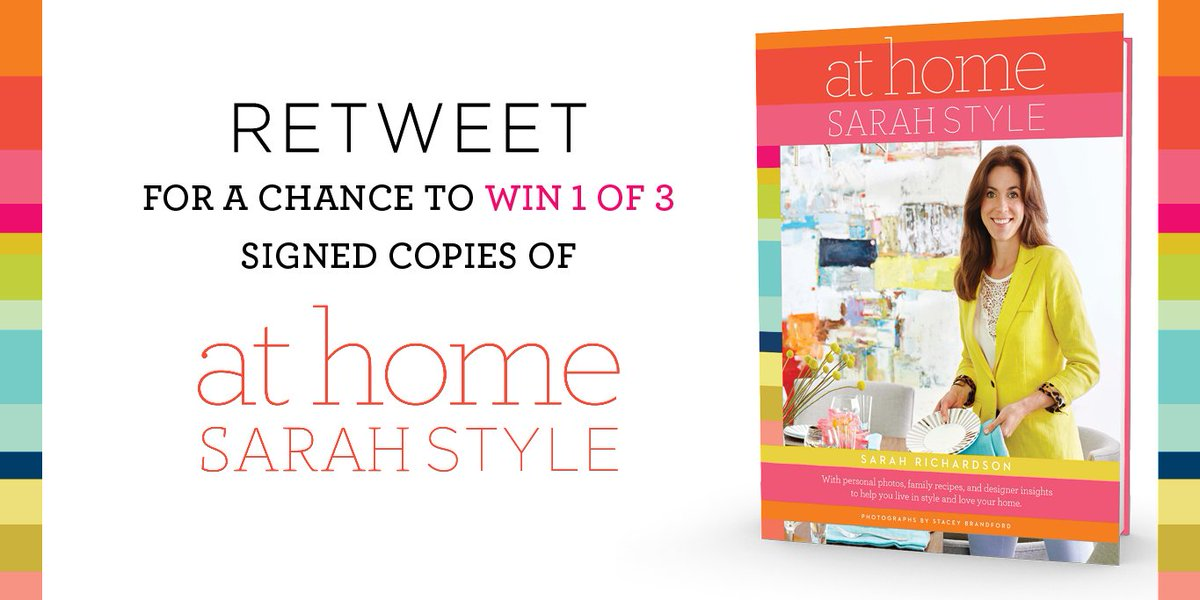 Hey all of you @SarahR_Design fans, RT to be entered to #WIN a copy of her new book, #AtHomeSarahStyle! https://t.co/rBZQzwYoif