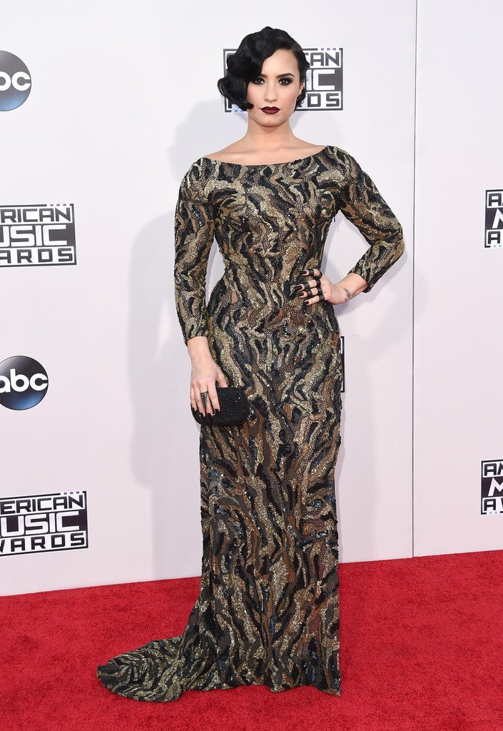 Demi lovato wore a #lorenasarbu fall 2015 beaded gown with a sheer ...