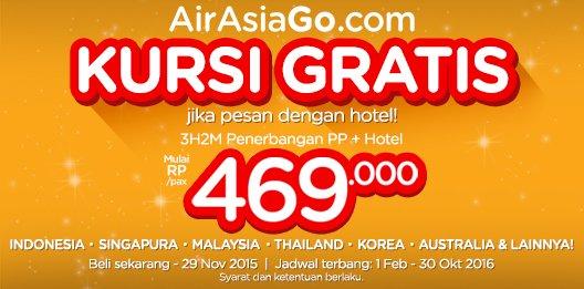 Di @AirAsiaGoID, bisa dapat kursi gratis jika pesan dengan hotel!  Silakan cek di