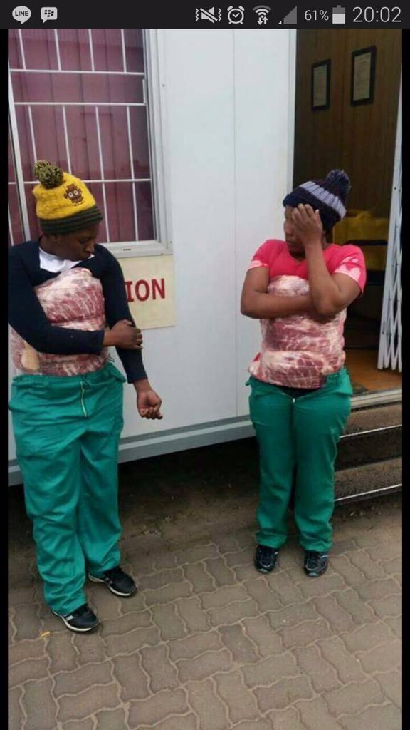 2 Ghanaian aunty's arrested for stealing meat at their work place...... Ohhh awurade! https://t.co/RF5Ejuf7nC