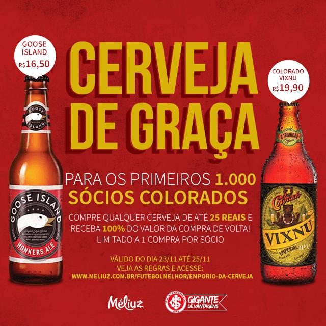 Sócio Colorado tem cerveja de graça, em promoção com parceiro do Gigante de Vantagens: https://t.co/LVAV5cij2b