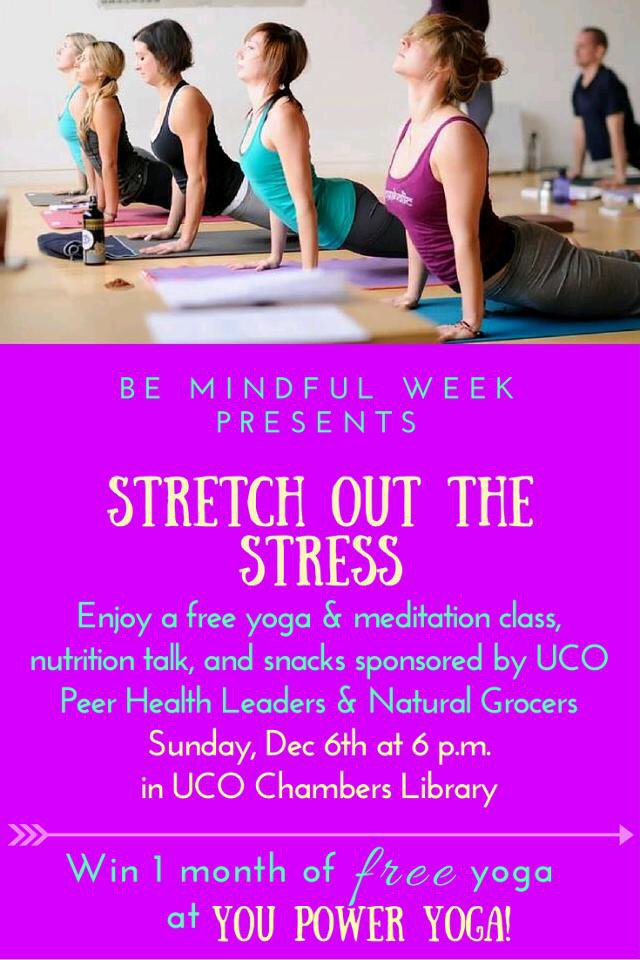 Hey @UCOBronchos! Enjoy a FREE yoga class, meditation, & snacks from @NaturalGrocers this Sunday for #BeMindfulWeek! https://t.co/a6MrC5d0XM