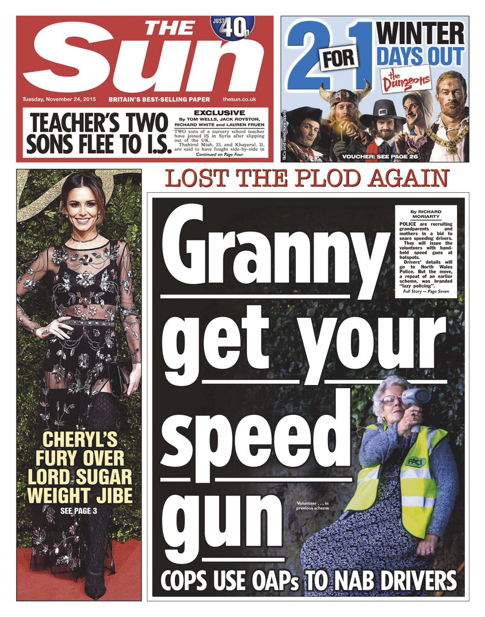 tuesday 39 s sun front page granny get your speed gun cops use oaps to nab drivers. Black Bedroom Furniture Sets. Home Design Ideas