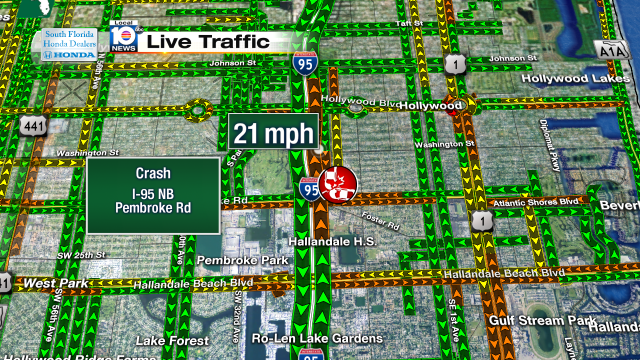 Crash on i 95 nb at pembroke rd speeds at 21mph traffic for Broward meat and fish company