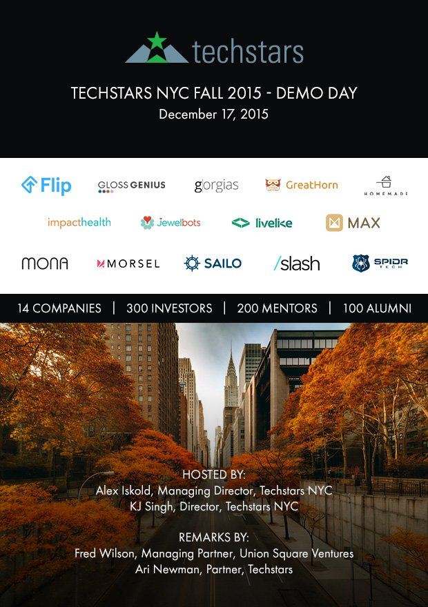 Hey NYC! Get excited about @techstars Fall 2015 Demo Day. Want to win a ticket? Here is how: https://t.co/3BPaoaLS3L https://t.co/8q245bBuyh