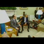 Pres Obama pats Pres Hollande on the arm telling reporters no statement now, news conference later. https://t.co/bXPofXLOdJ