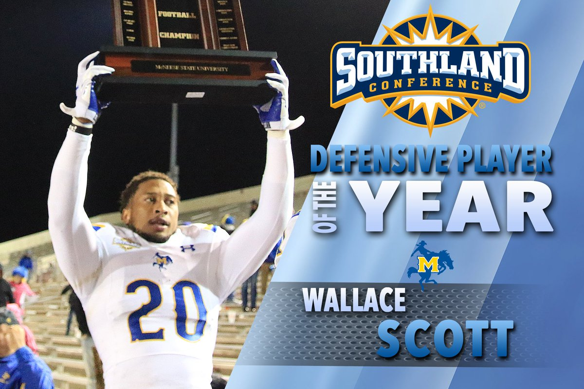 Congratulations to @McNeeseFootball FS Wallace Scott for being named the @SouthlandSports Def. Player of the Year. https://t.co/3teVEZTZxd