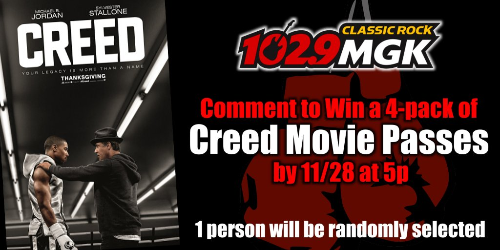We're excited for another Rocky movie & have your chance to win a 4-pack to see Creed. RT to win! https://t.co/BkvGC4JgKF