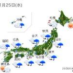 【全国の天気】(25日06:00) https://t.co/x7YRCRPFtj きょうは各地、天気が下り坂で、雨の降りだす所が多いでしょう。気温が低く、広く師走の寒さとなりそうです.. https://t.co/NQyM4IkRdd