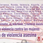 La #ViolenciaMachista solo en 2015 ya ha asesinado 48 mujeres y 3 menores. Deja 44 huérfanos #BastaYa #NiUnaMenos https://t.co/TzMoTXPIXg