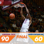 HOKIES WIN! Balanced attack gives #Hokies 30 pt win over NC A&T, 90-60 #ThisIsHome https://t.co/cBkWH9JhA7